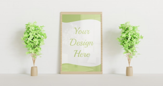 Wooden frame mockup standing on the white wall with couple decorative plants