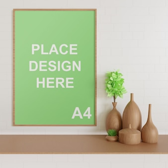 Wooden frame mockup on the table with wooden vase