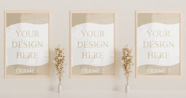 Wooden frame mockup on the wall with decorative plants