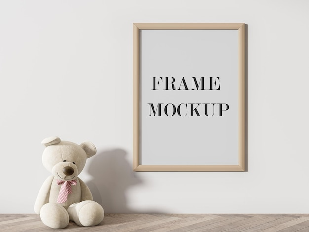 Wooden frame mockup with teddy bear