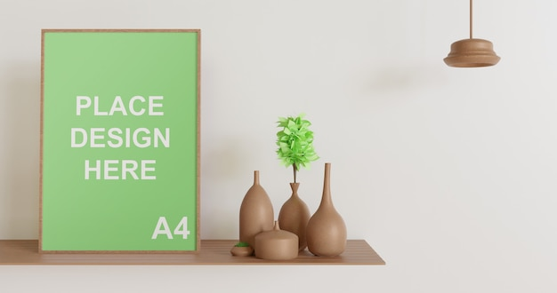 Wooden frame mockup on the wooden table with lamp and vase