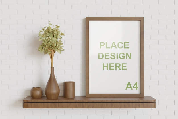 Wooden frame mockup on the wooden wall table with wooden vase