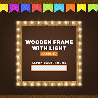 Wooden frame with light 3d render composition