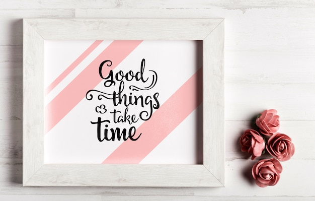 Wooden frame with motivational quote