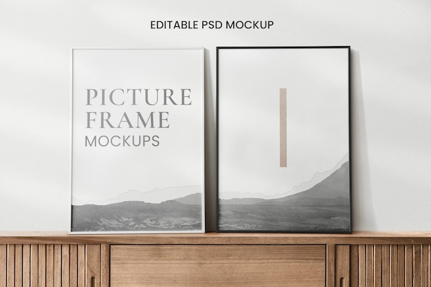 Wooden frames mockup against a wall