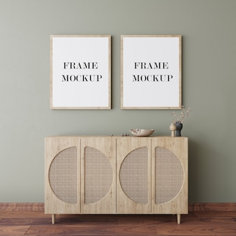 Wooden frames on wall 3d rendering mockup