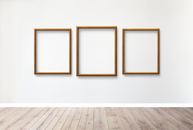 Wooden frames on a wall