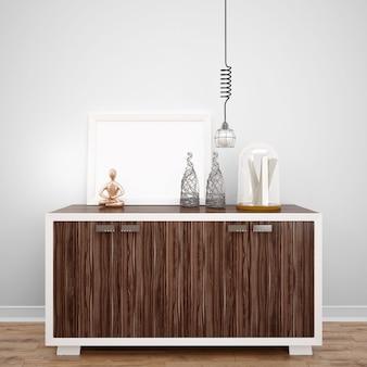 Деревянная мебель с декоративными предметами и лампой, идеи дизайна интерьера