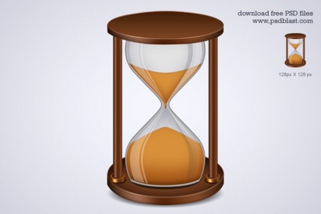 Wooden hourglass illustration psd