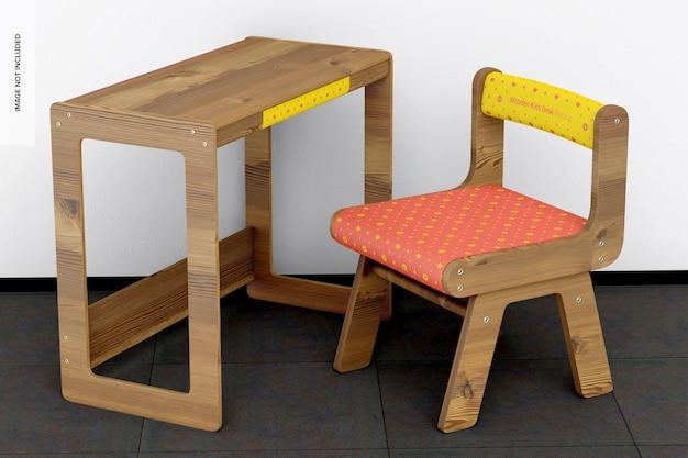 Мокап деревянного детского стола, вид слева