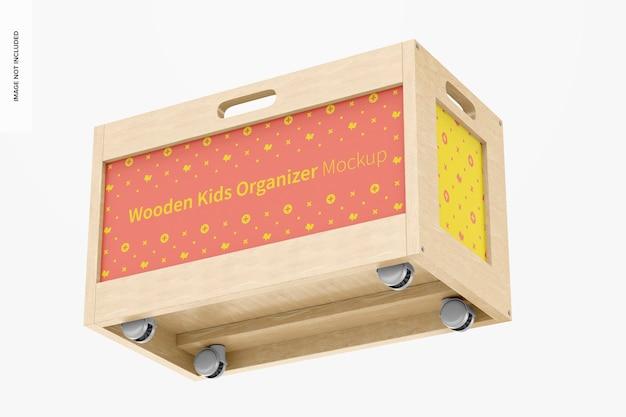 木製キッズオーガナイザーモックアップ、フローティング