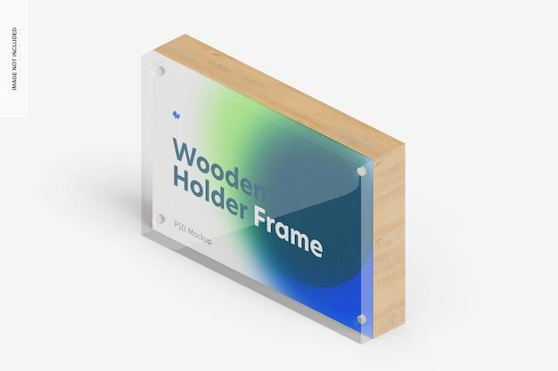 Mockup di cornice porta etichette in legno, vista isometrica sinistra