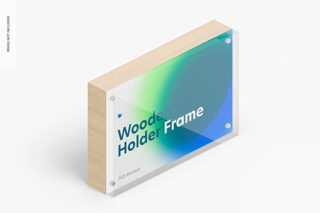 Wooden label holder frame mockup, isometric right view