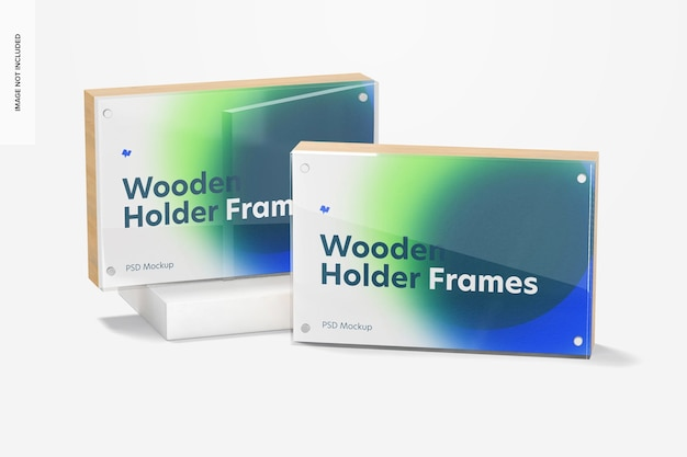 Wooden label holder frames mockup