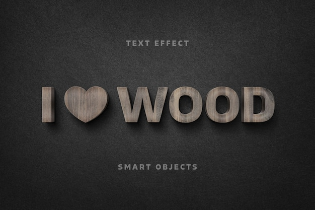 Wooden letters text effect template