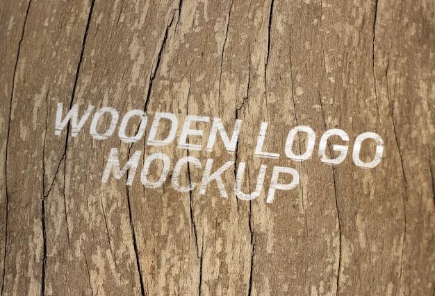 木製のロゴモックアップ