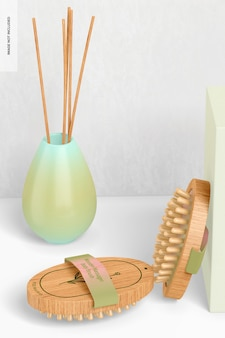 Wooden massager body brushes mockup, on surface