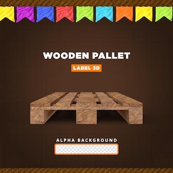 Wooden pallet 3d render composition