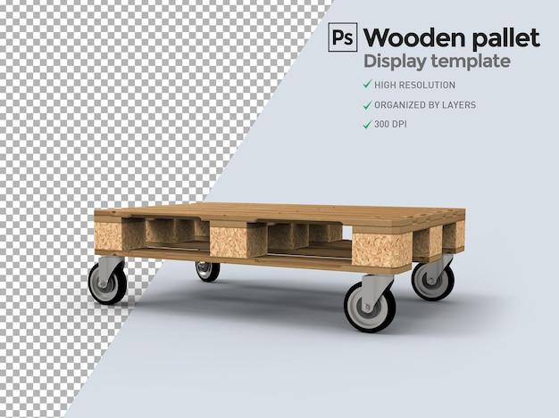 Деревянный поддон с колесами для демонстрации продукта в презентациях