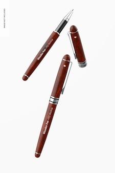 木製のペンのモックアップ、フローティング