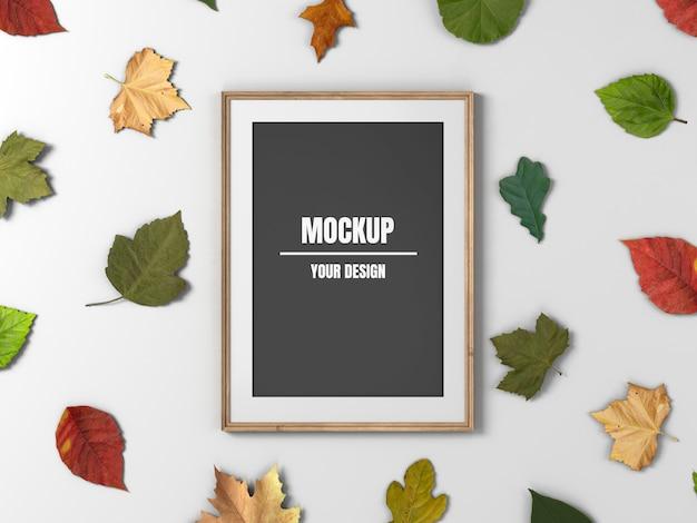 Деревянная фоторамка макет и кленовые листья