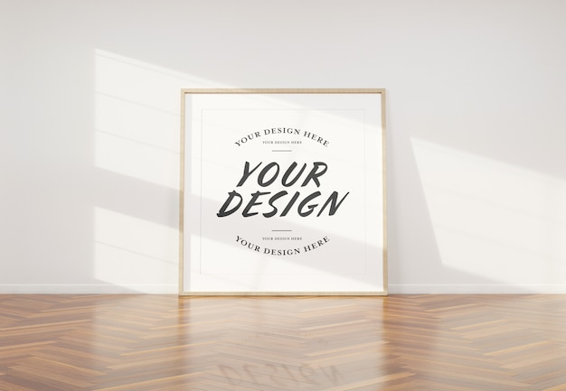 Wooden photo frame mockup leaning in interior