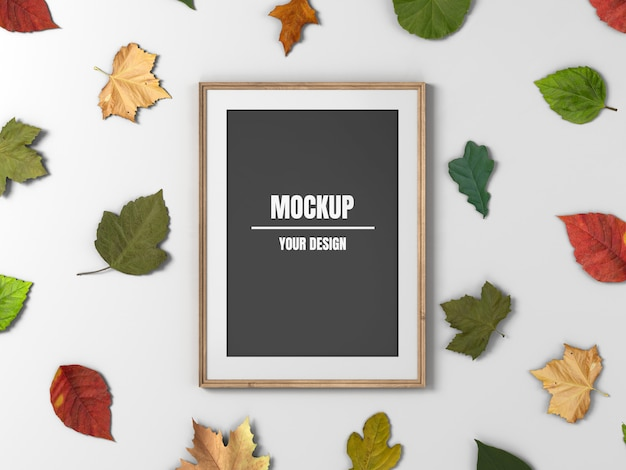 Wooden photo frame mockup and maple leaves