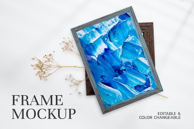 Деревянная рамка для фотографий, psd макет с красочной росписью