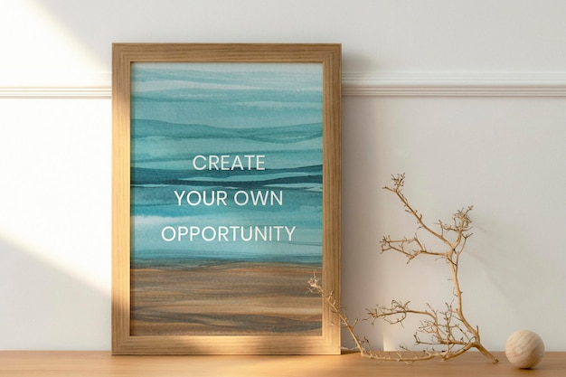 Wooden picture frame mockup psd with ombre watercolor painting interior