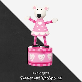 透明な背景に木製のピンクと白のオルゴール