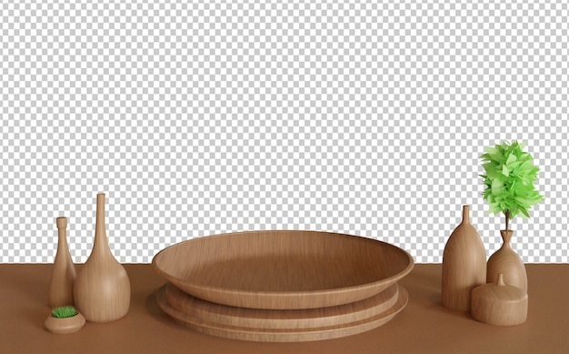 잘라 나무 테이블에 나무 접시