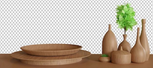받침대와 나무 꽃병이있는 나무 접시