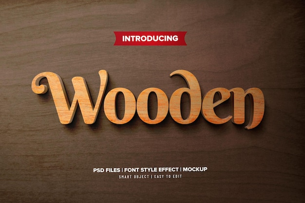 Wooden premium text effect template