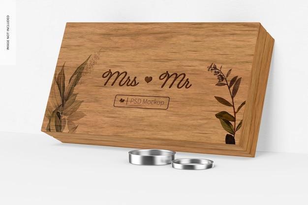 Mockup di scatola per anelli in legno appoggiato