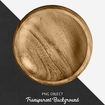 Wooden round serving plate on transparent background