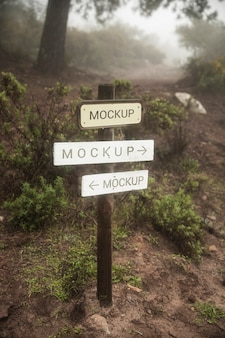 Wooden route signs  mock-up in the forest
