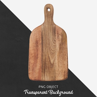Wooden serving or cutting board on transparent