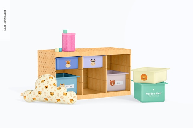 Wooden shelf with storage bins mockup, perspective