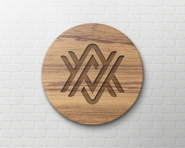Wooden sign logo mockup on brick wall
