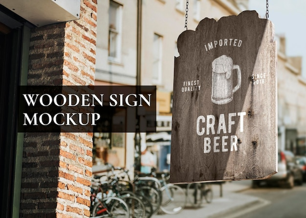 Wooden sign mockup, realistic psd design for bars