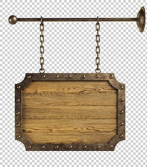 Wooden signboard hanging on chains isolated, 3d illustration