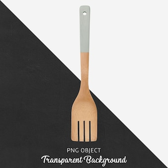 Wooden spoon with gray handle on transparent background
