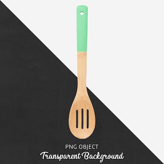 Wooden spoon with green handle on transparent background