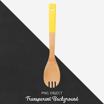 Wooden spoon with yellow handle on transparent background