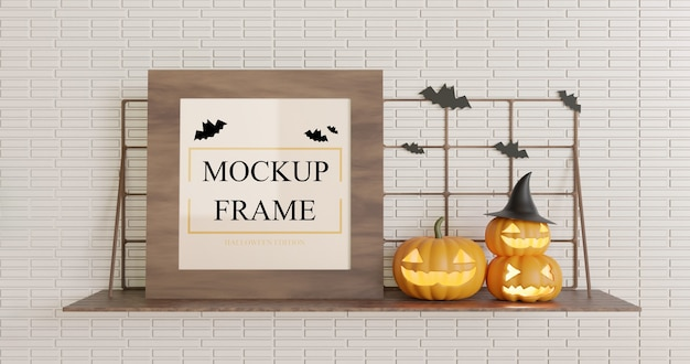 Wooden square mockup halloween on the wall table