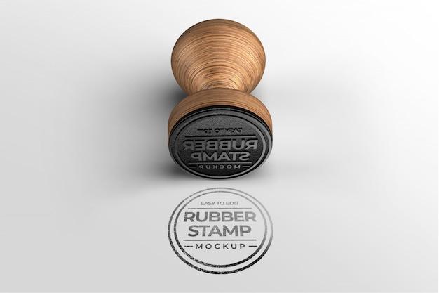 Wooden stamp logo mockup