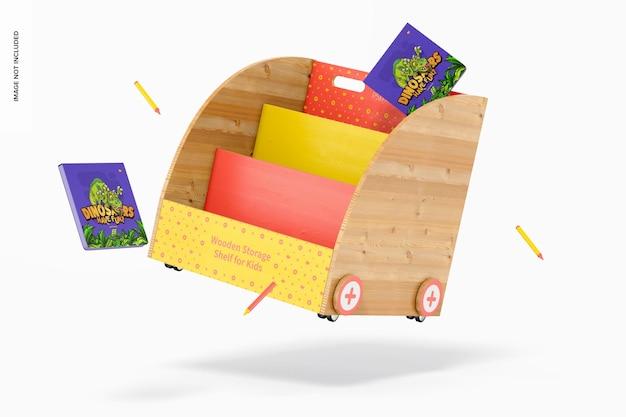 Wooden storage shelf for kids mockup, falling