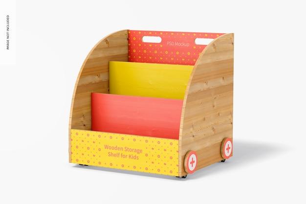 Wooden storage shelf for kids mockup