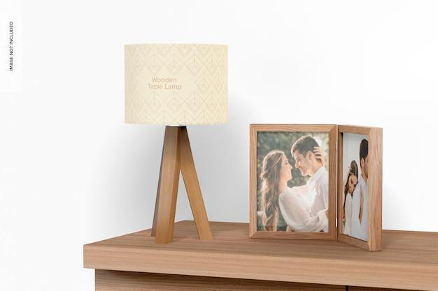 木製のテーブルランプのモックアップ、展望