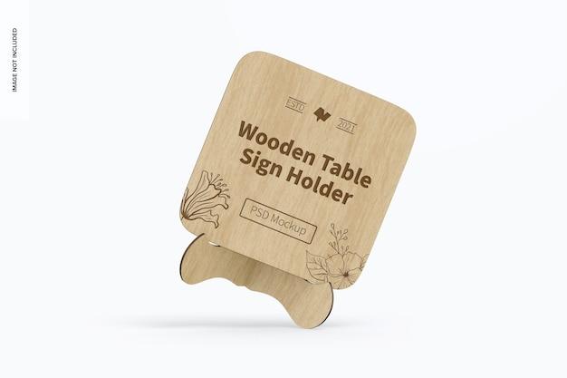 木製テーブルサインホルダーモックアップ、傾いた